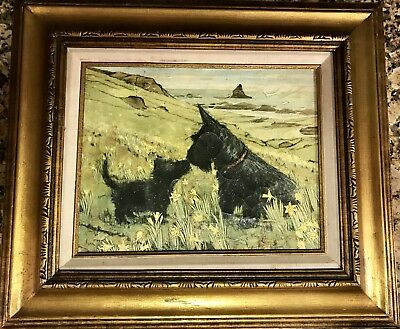Antique Vintage Original Painting Scottish Terrier Dog Crazing Framed Landscape