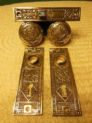 Antique Victorian Set Brass Hardware For Door, Lock, Key Hole Plates And Knobs!