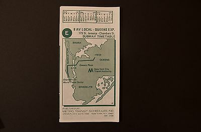NOS 1977 New York City Subway E 8 Ave Exp Train Timetable Line Map Schedule NYC