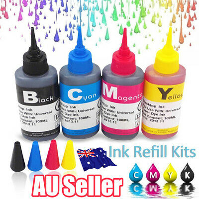 4x 100ml Color Ink Cartridge Refill Replacement Kit for HP Canon Printer  ON