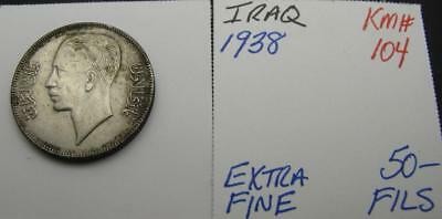 Iraq 1938 Silver 50-Fils! Extra Fine! Km# 104! Really Nice Type Coin! Look!