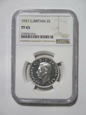 Great Britain 1937 2 Shilling Silver Graded Ngc Pf65 Proof Coin Collection Lot