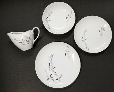 Fine China of Japan 1067 Cherry Blossom Vintage PInk Grey Japanese SIlver Trim
