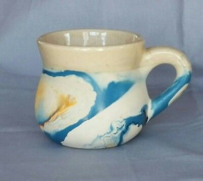 MUG  NEMADJI  POTTERY of Minnesota, Hand Made, Blue + Gold Swirls
