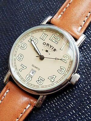 Vintage Rare Orvis Field Watch Very Nice, New Glass & Band + Freeshpnmostcts.