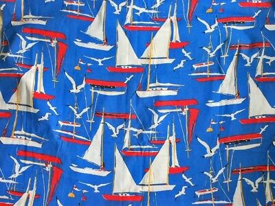 Fabric New Old Stock with Tag Vintage 70s Nautical Sailboat Yardage 3 Yards