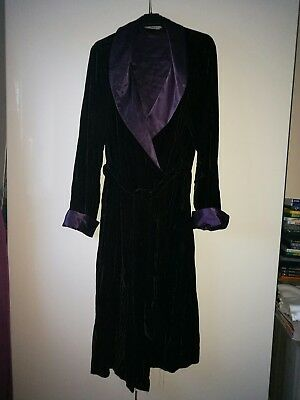balck and purple velvet and satin dressing gown M&S size 12-14