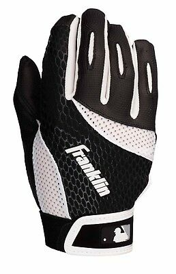 Franklin Batting Glove 2ND SKINZ - ADULT - Baseball Handschuh - schwarz/weiß