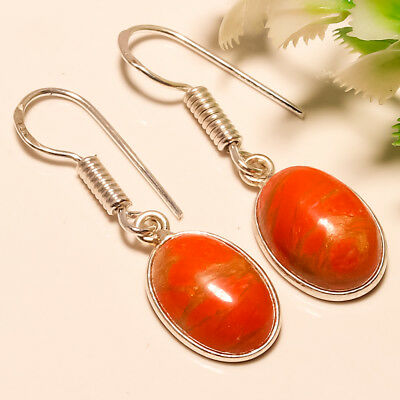 Red Copper Turquoise Gemstone 925 Silver Jewelry Earring 1.4 New Year Gift