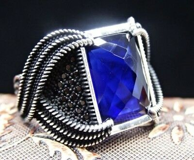 Turkish Jewelry 925 Sterling Silver Sapphire Stone Mens Ring Sz 11 FREE resize
