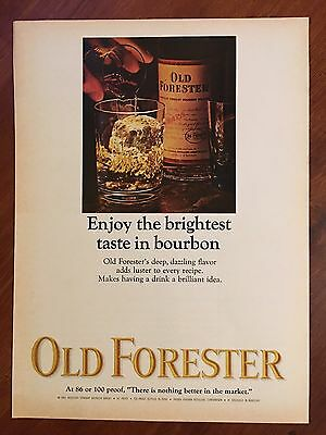 Vintage 1966 Original Print Ad OLD FORESTER Brightest Taste in BOURBON