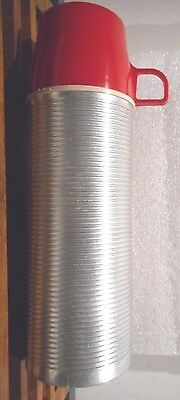 Thermos Aluminum Ribbed Red Cup 2284 King Seeley Silver Pint Size