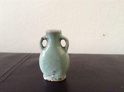 Chinese Antique Celadon Snuff Bottle / Miniature Vase
