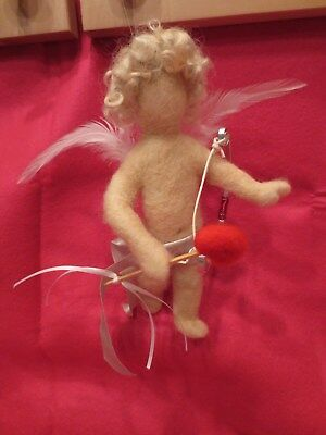 needle felted CUPID VALENTINE'S DAY OOAK GIFT so cute,