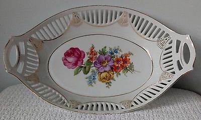 """12"""" White Porcelain OVAL SERVING BOWL with PIERCED RIM and HANDLES ~ Germany"""