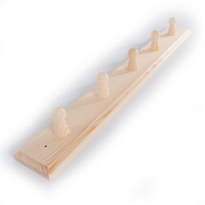 5 Pegs Wooden Coat Rack Hooks Holder / Wall Mounted Hanging Crafts Plain Wood