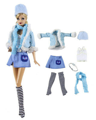 7PCS Set Outfit Coat+vest+skirt+belt+scarf+hat+socks FOR 11.5in.Doll Clothes