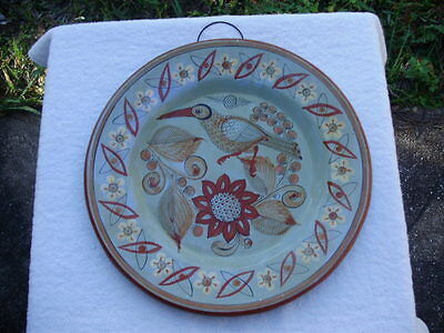 """Vintage Mexican Pottery Glazed Bird 12 3/4"""" Plate charger Signed Mexico J.P."""
