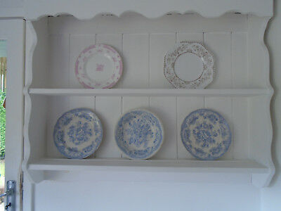 Victorian Plate Display Shelves With Back (Dresser Top)- Painted White