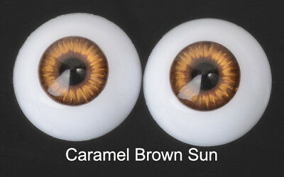 Doll Acrylic Eyes Half Round Caramel Brown Sun #R004 18mm for BJD Dollfie Reborn