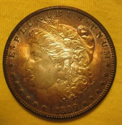 "1899-0 Morgan Dollar ""gorgeous Rainbow Toning"" Choice Bu, A Gorgeous Coin"