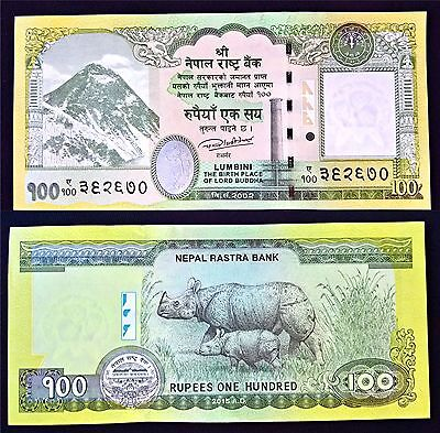 100 Rupees Nepal Currency 2016 Printing Mt Everest obverse One-horned Rhinos UNC