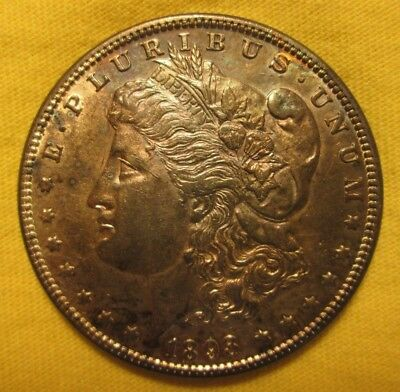 "1893-P ""rare-Key-Date"" Morgan Dollar, Low Mintage Of 378,792,  Rainbow Tone"