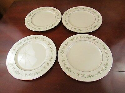 Lenox BROOKDALE H500  Plate 9 in. White Yellow Flowers Platinum Trim Lot of 4