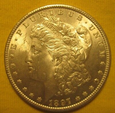 "1897-P Gem-Bu+++ Morgan Dollar Ngc Graded Ms-65  ""under Graded"" Gorgeous"