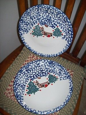 Tienshan China CABIN IN THE SNOW Lot of 2 Dinner Plates 11""