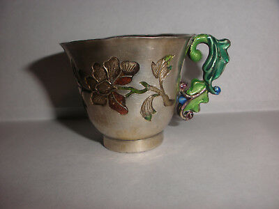 Antique Asian Sterling Silver Enamel Flowers Small Cup Chinese