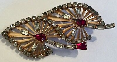 Vintage Gold Filled Pin Signed Phyllis 1/20 12k GF Red & Clear Rhinestones