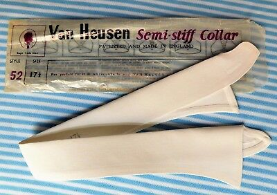 "Van Heusen semi-stiff shirt collar WHITE size 17 1/2"" style 52 UNUSED vintage"