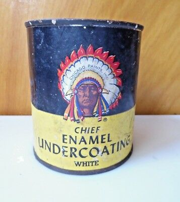 Vintage CHIEF Paint Can Indian Headdress Enamel Undercoat White One Pint Chicago