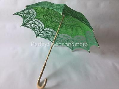 Green Lace Parasol with curved Handle