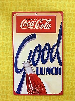 Retro Style Drink Coca Cola Good Lunch Coke Bottle Embossed Metal Sign