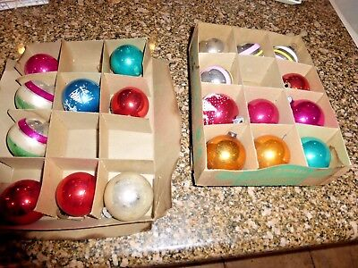 20 Vintage Shiny Brite Christmas Glass Ornaments in 2 Boxes