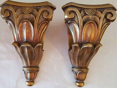 Wall Sconces Corbel Scarf Swag Curtain Rod Holders Resin Set=2 GOLD
