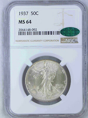 1937 Walking Liberty Half Dollar NGC MS64 CAC Soft White Satiny Luster PQ #60H
