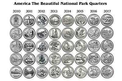 2010-2017 P & D America The Beautiful Park Quarter All 8 years 2 Rolls 80 coins