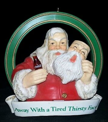 """Coca-Cola Coke Ornament Santa with Coke """"Away with a Tired Thirsty Face - No Box"""