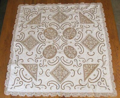 Exquisite c1900 Antique Lace Linen TABLE Topper Embroiderd Monogram Philadelphia