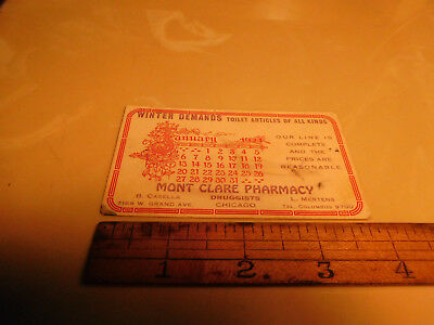 """1924 Trade card blotter Mont Clare Pharmacy Chgo """"Toilet articles of all kinds"""""""
