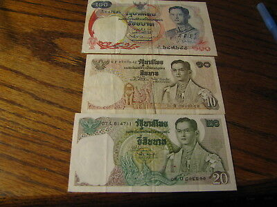 3 Bank Notes from Thailand 100 20 & 10 Baht    Lot# T 8