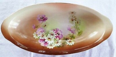 Beautiful Victorian Hand Painted Oval Dish Floral Pink Roses Daisies Gold Rim