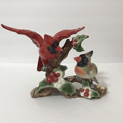 Christmas Cardinals Birds Male Female Figurine Perched on a Branch Holly Berries