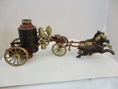 Antique Cast Iron Toy 1800s Horse Drawn Fire Wagon And 3 Horses Possibly Kenton
