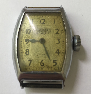 Vintage Ingraham Wrist-Fit Men's Watch Art Deco Case Parts/Repair USA