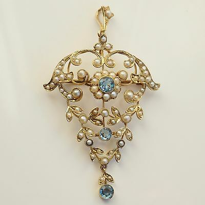 Antique Victorian Art Nouveau 15ct Gold Aquamarine & Pearl Pendant Brooch c1895