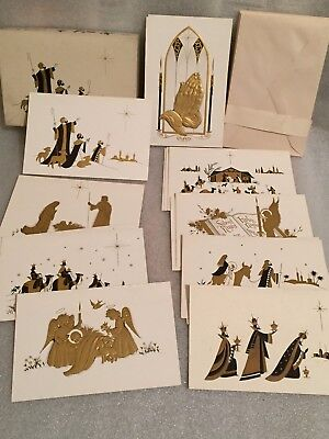 Vintage Unused Sunshine Gold and Black Religious Christmas Cards in Box